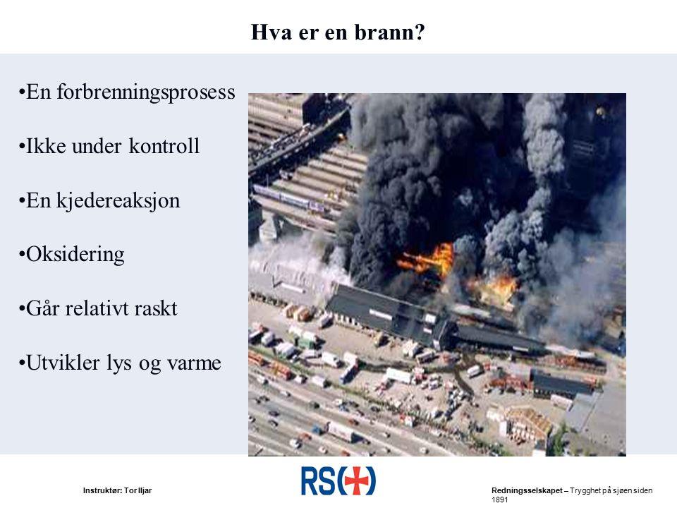 Hva er en brann En forbrenningsprosess Ikke under kontroll