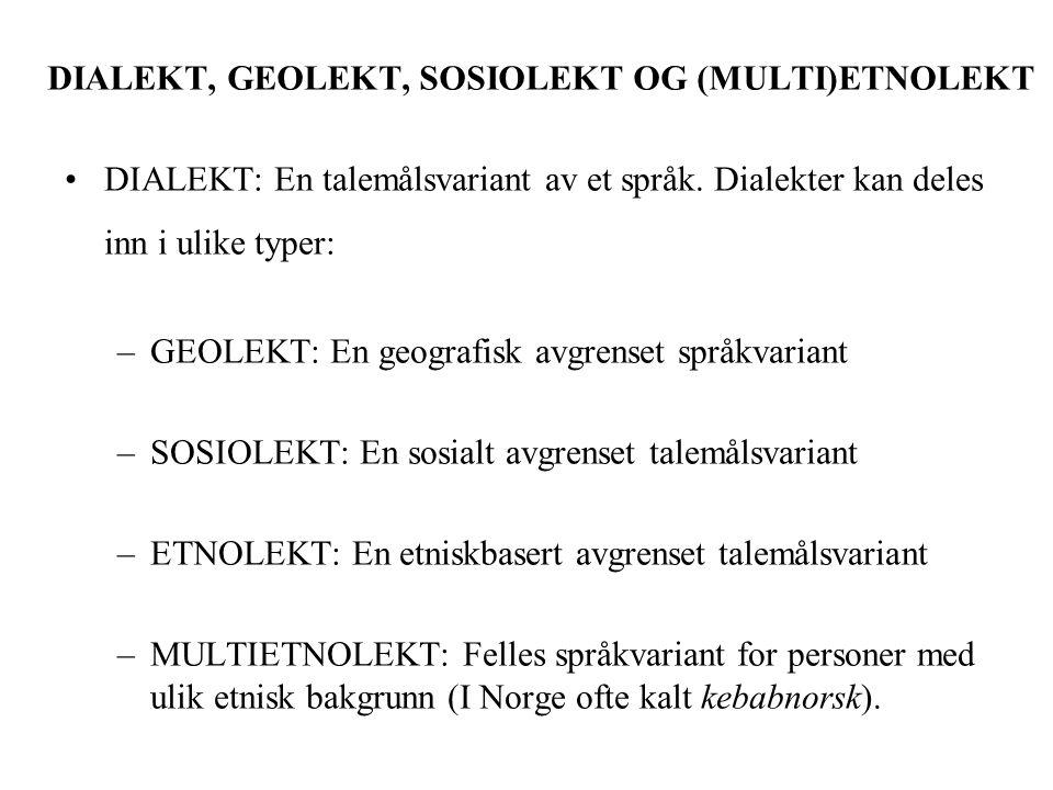 DIALEKT, GEOLEKT, SOSIOLEKT OG (MULTI)ETNOLEKT