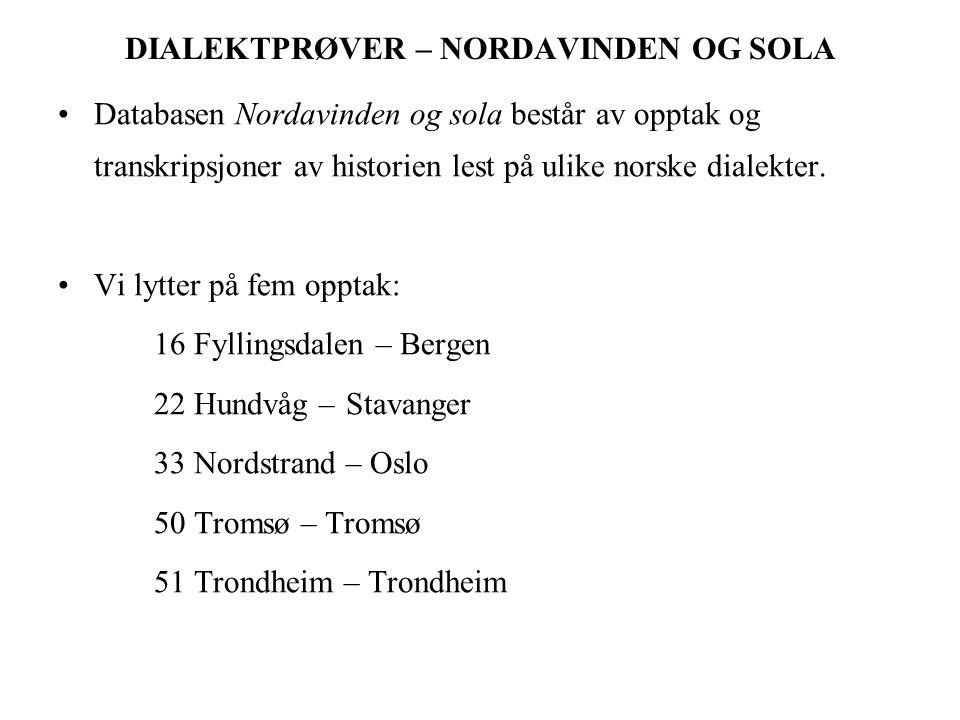 DIALEKTPRØVER – NORDAVINDEN OG SOLA