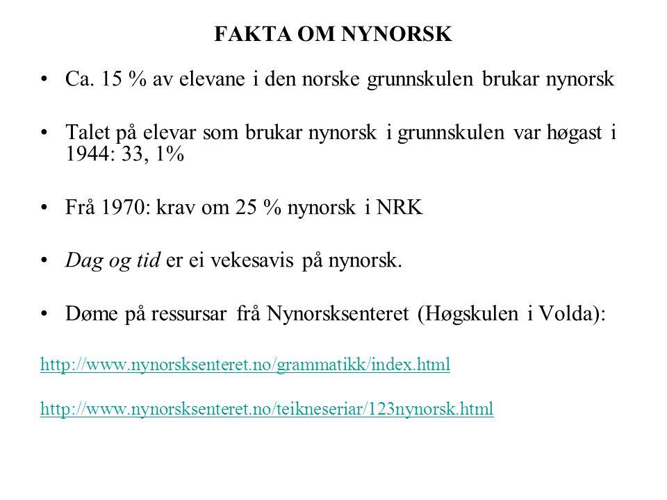 Ca. 15 % av elevane i den norske grunnskulen brukar nynorsk
