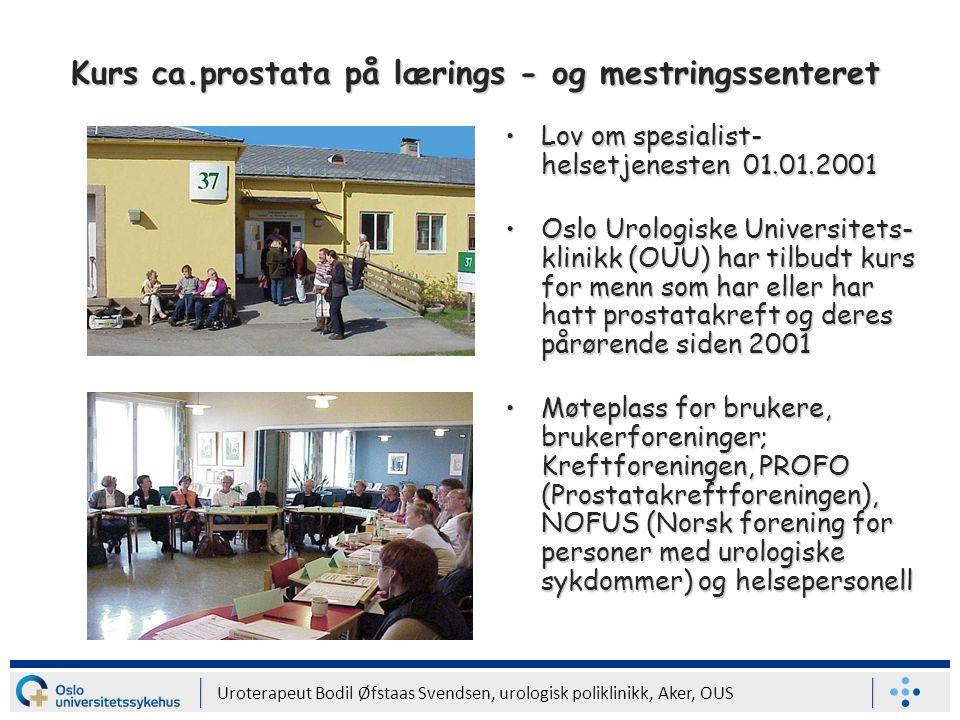 Kurs ca.prostata på lærings - og mestringssenteret
