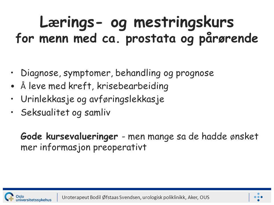 Lærings- og mestringskurs for menn med ca. prostata og pårørende