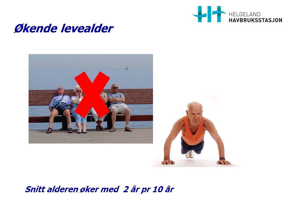 Økende levealder Snitt alderen øker med 2 år pr 10 år