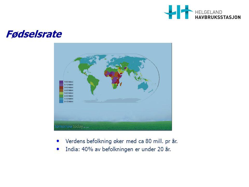 Fødselsrate Verdens befolkning øker med ca 80 mill. pr år.