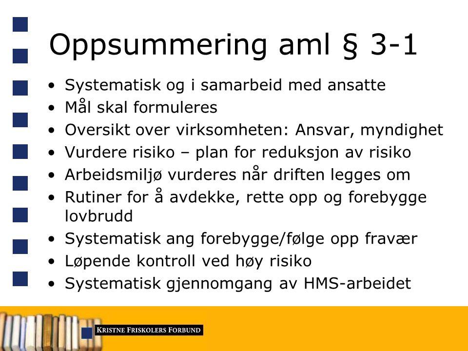 Oppsummering aml § 3-1 Systematisk og i samarbeid med ansatte