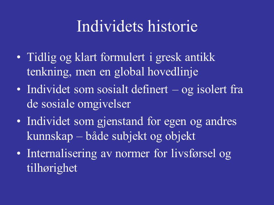 Individets historie Tidlig og klart formulert i gresk antikk tenkning, men en global hovedlinje.