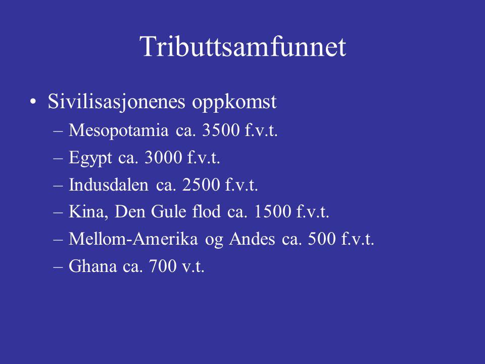 Tributtsamfunnet Sivilisasjonenes oppkomst Mesopotamia ca. 3500 f.v.t.