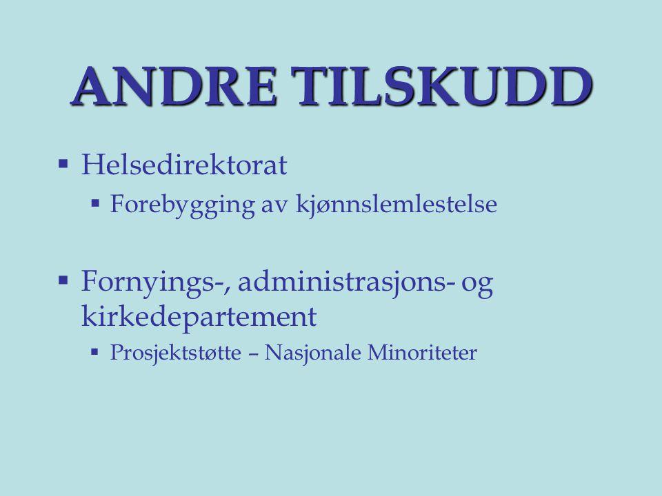 ANDRE TILSKUDD Helsedirektorat