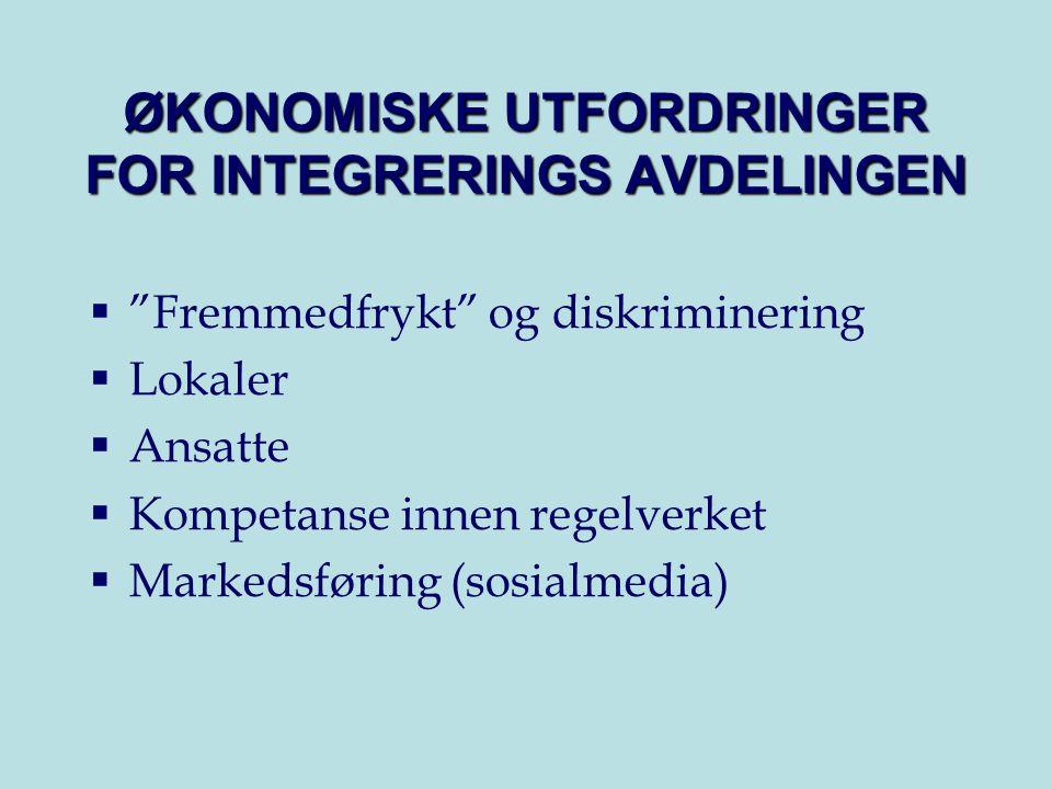 ØKONOMISKE UTFORDRINGER FOR INTEGRERINGS AVDELINGEN