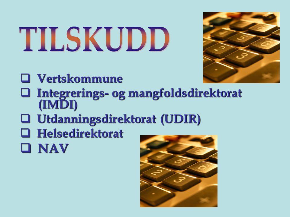 TILSKUDD NAV Vertskommune Integrerings- og mangfoldsdirektorat (IMDI)