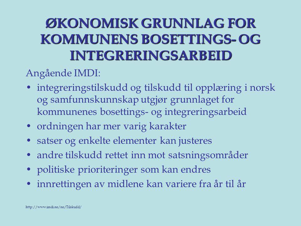 ØKONOMISK GRUNNLAG FOR KOMMUNENS BOSETTINGS- OG INTEGRERINGSARBEID