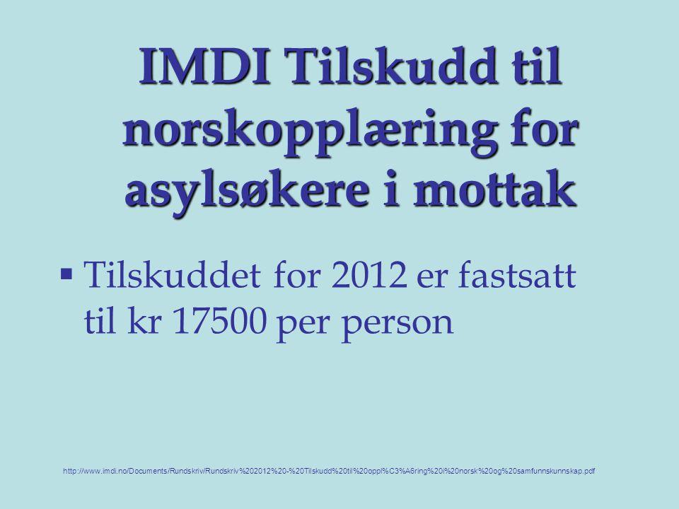 IMDI Tilskudd til norskopplæring for asylsøkere i mottak