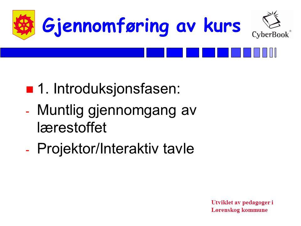Gjennomføring av kurs 1. Introduksjonsfasen: