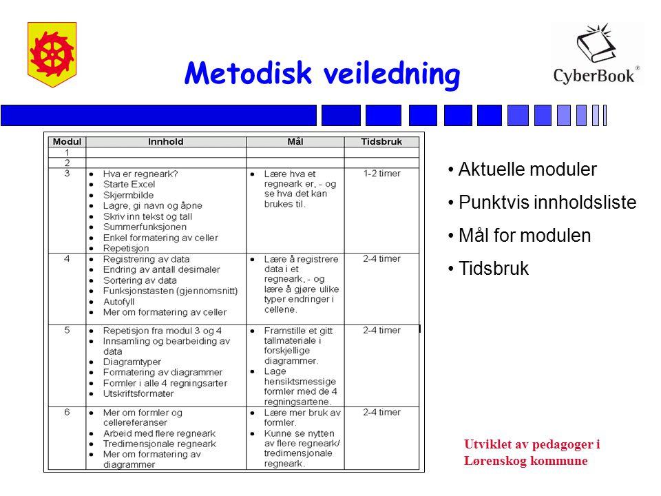 Metodisk veiledning Aktuelle moduler Punktvis innholdsliste