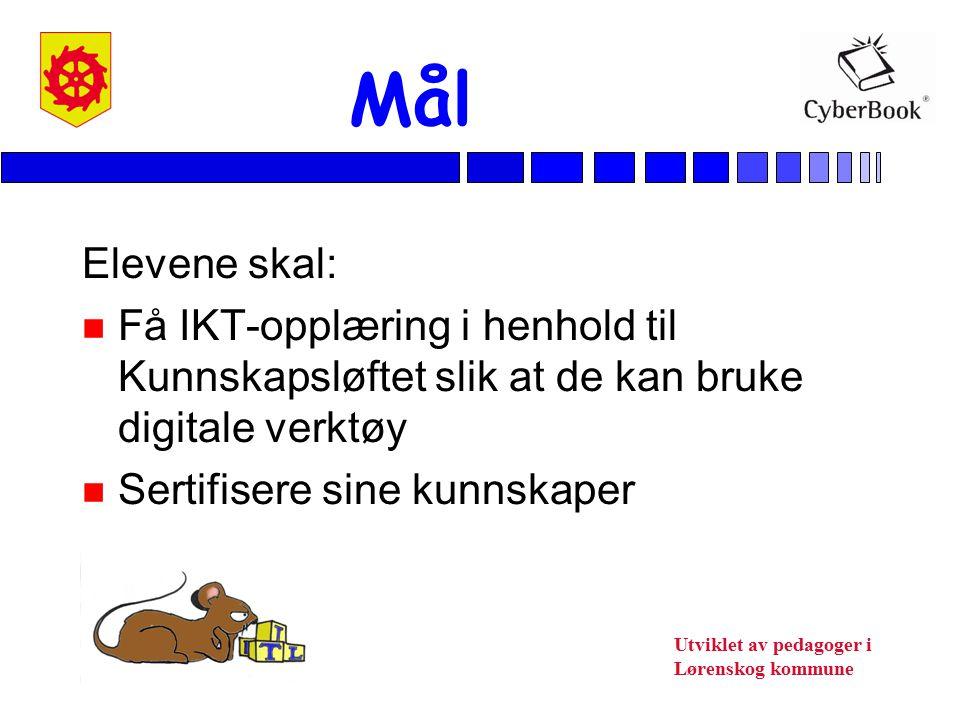 Mål Elevene skal: Få IKT-opplæring i henhold til Kunnskapsløftet slik at de kan bruke digitale verktøy.