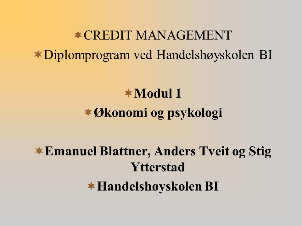 Modul 1 Økonomi og psykologi Handelshøyskolen BI