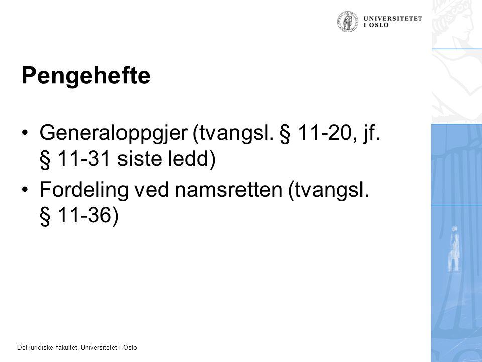 Pengehefte Generaloppgjer (tvangsl. § 11-20, jf. § 11-31 siste ledd)