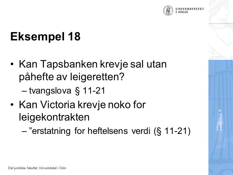 Eksempel 18 Kan Tapsbanken krevje sal utan påhefte av leigeretten