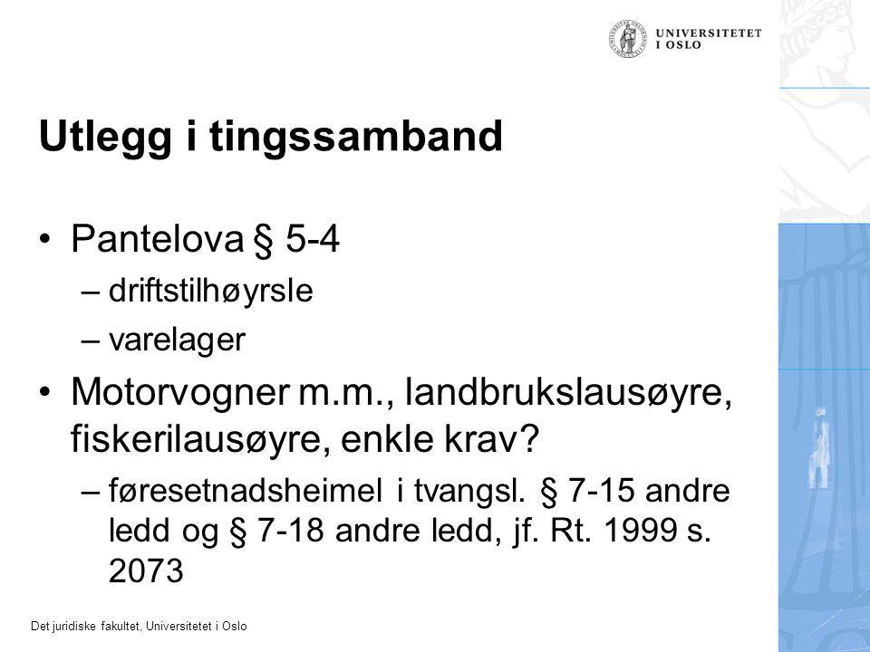 Utlegg i tingssamband Pantelova § 5-4
