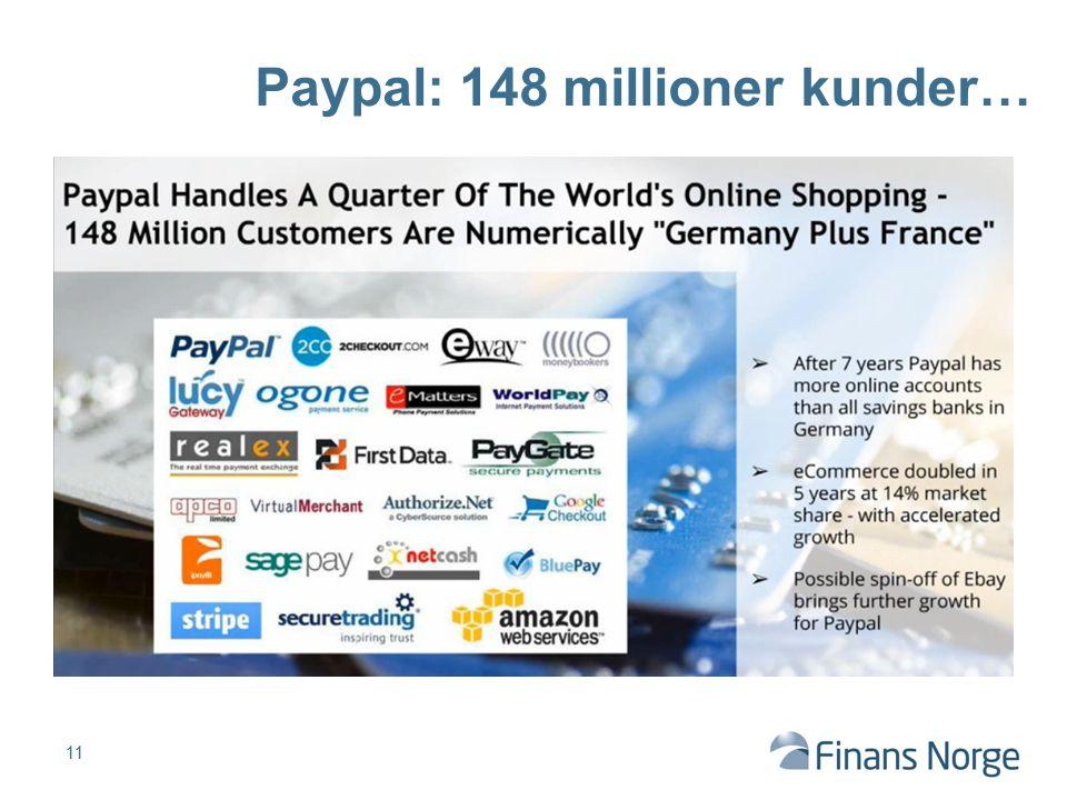 Paypal: 148 millioner kunder…