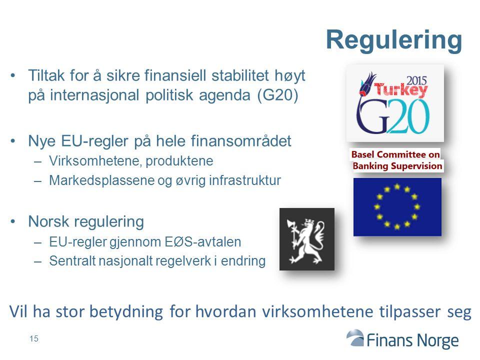 Regulering Tiltak for å sikre finansiell stabilitet høyt på internasjonal politisk agenda (G20) Nye EU-regler på hele finansområdet.