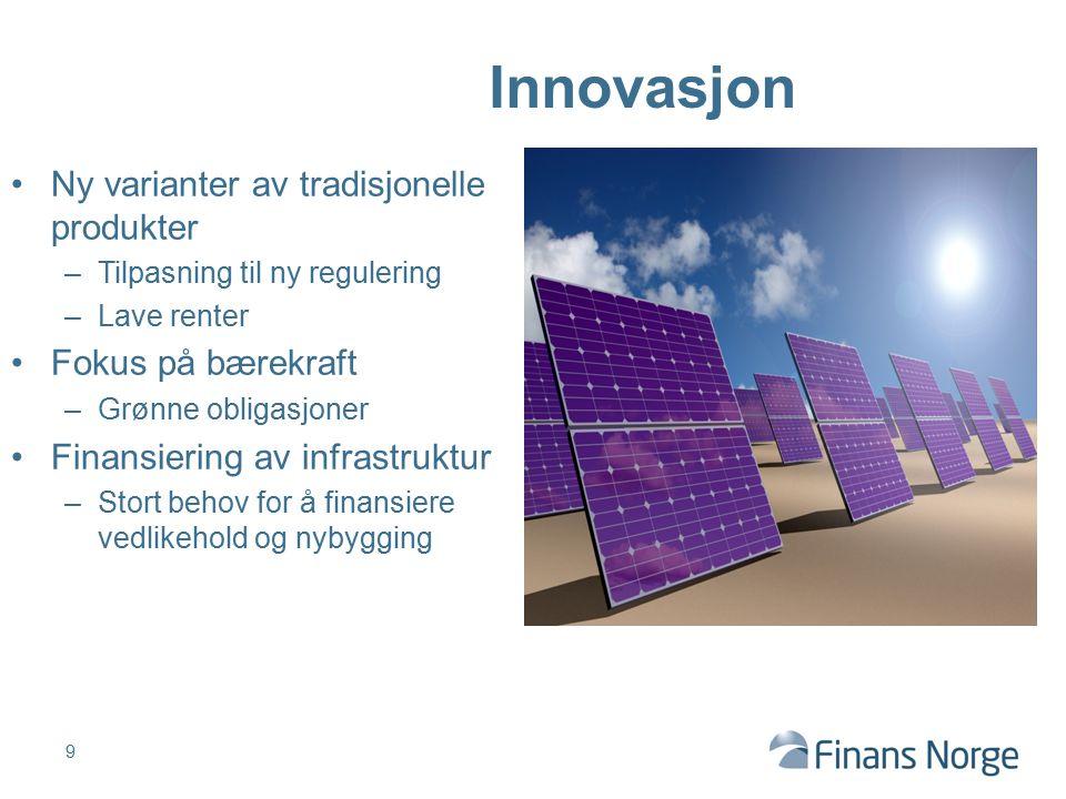 Innovasjon Ny varianter av tradisjonelle produkter Fokus på bærekraft