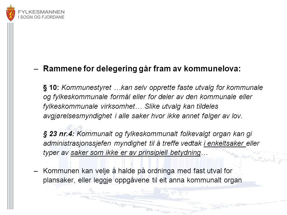 Rammene for delegering går fram av kommunelova: