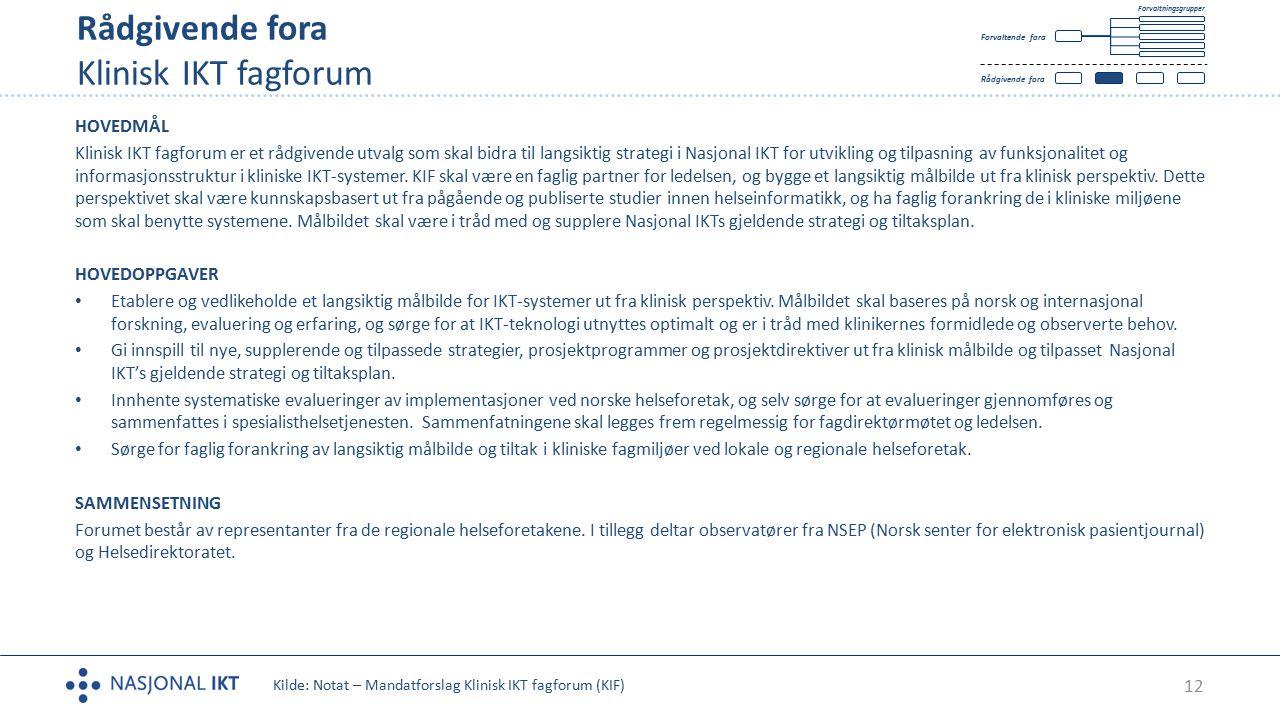 Rådgivende fora Klinisk IKT fagforum