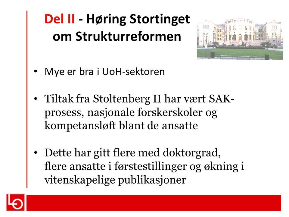 Del II - Høring Stortinget om Strukturreformen