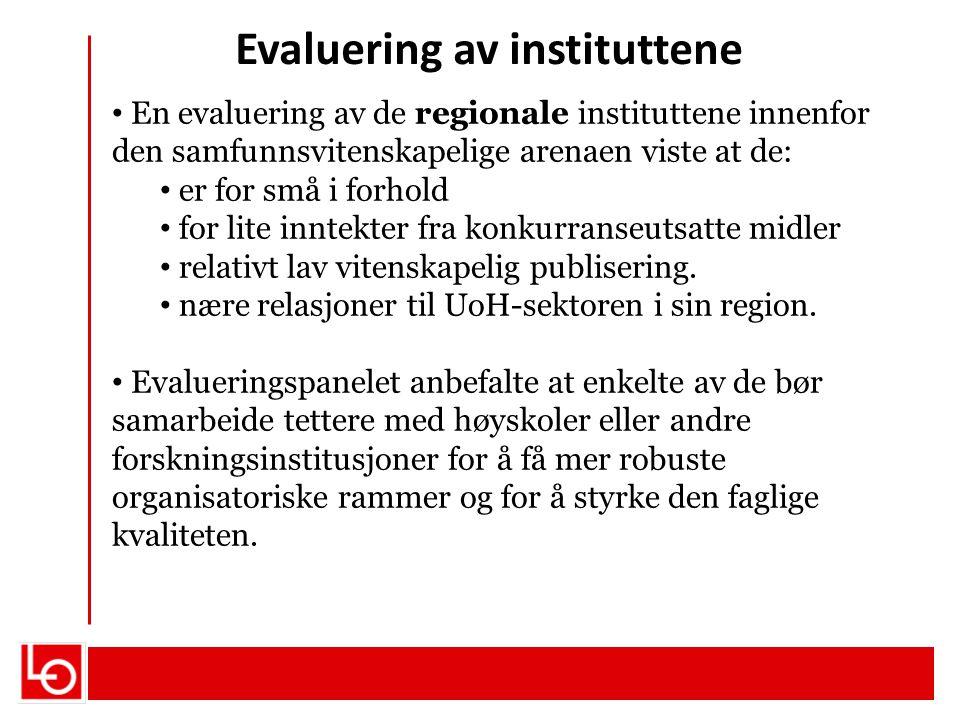 Evaluering av instituttene