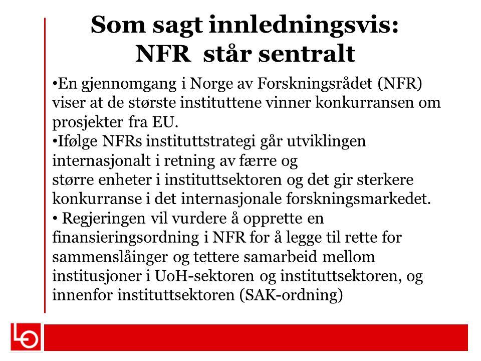Som sagt innledningsvis: NFR står sentralt