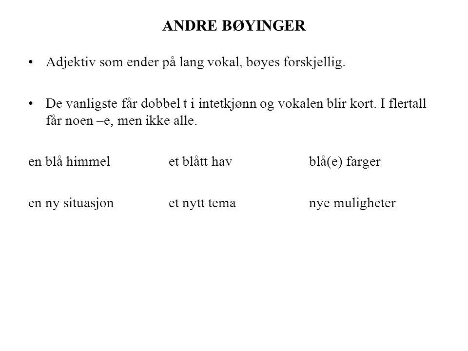 ANDRE BØYINGER Adjektiv som ender på lang vokal, bøyes forskjellig.