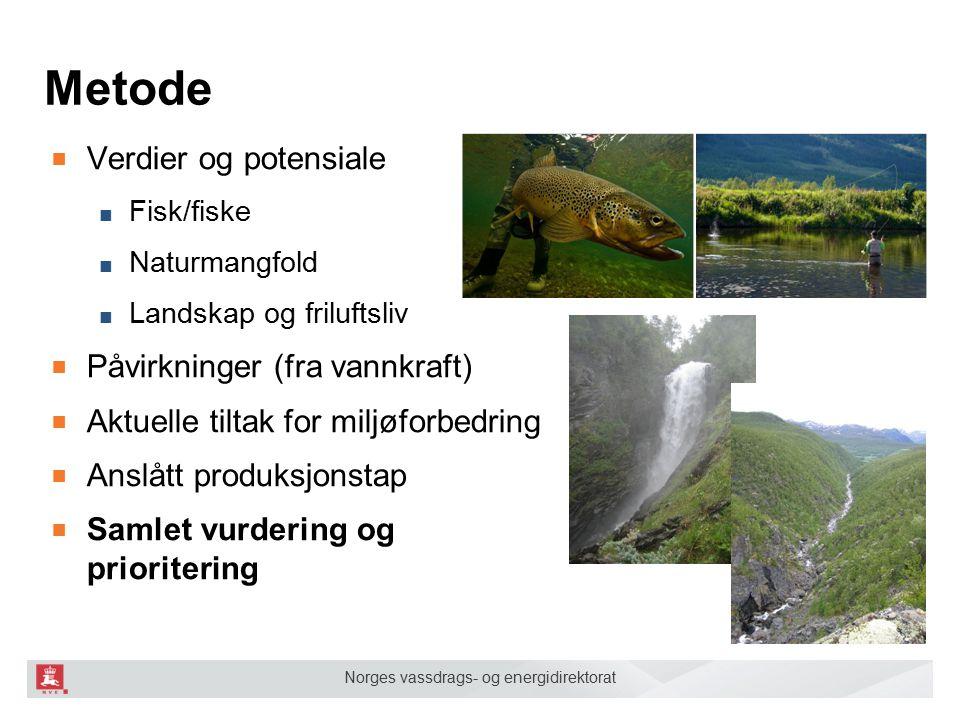 Metode Verdier og potensiale Påvirkninger (fra vannkraft)