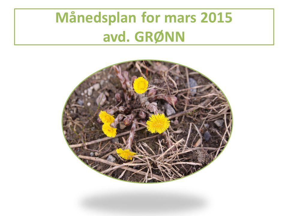 Månedsplan for mars 2015 avd. GRØNN
