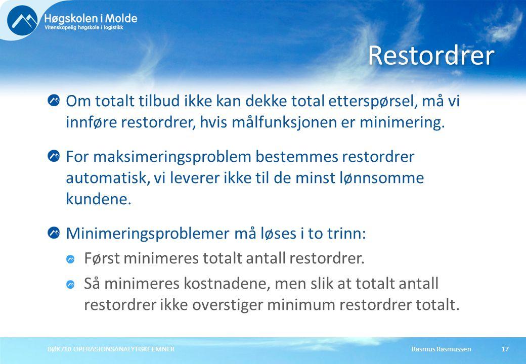 Restordrer Om totalt tilbud ikke kan dekke total etterspørsel, må vi innføre restordrer, hvis målfunksjonen er minimering.