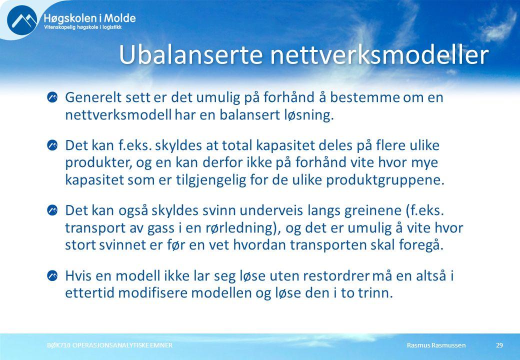 Ubalanserte nettverksmodeller