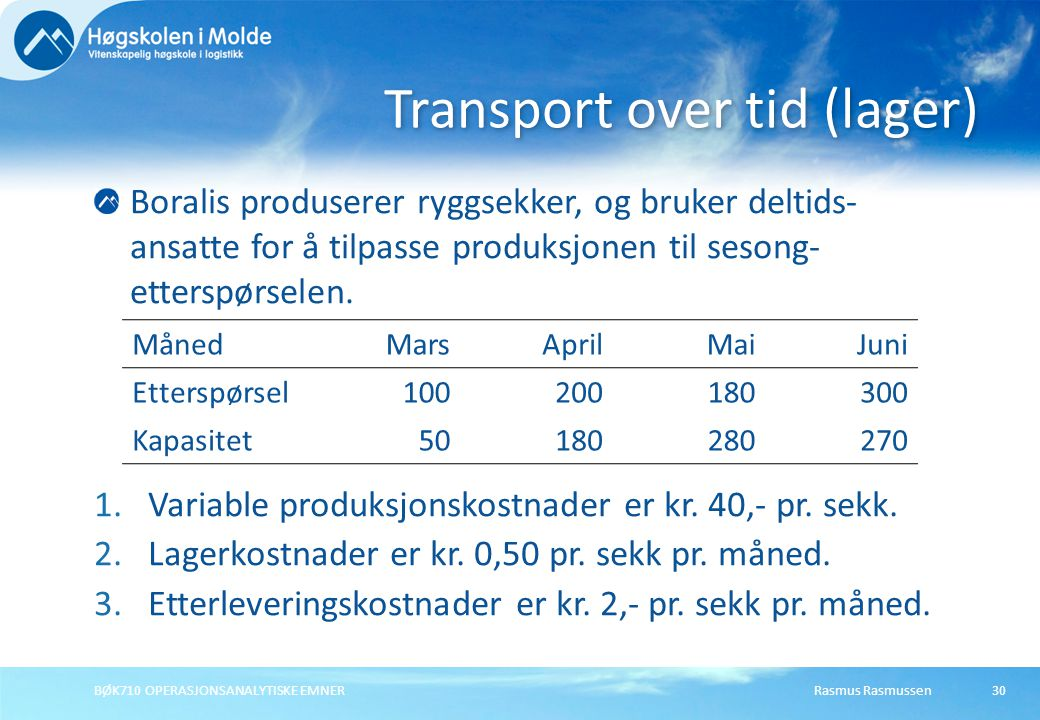 Transport over tid (lager)