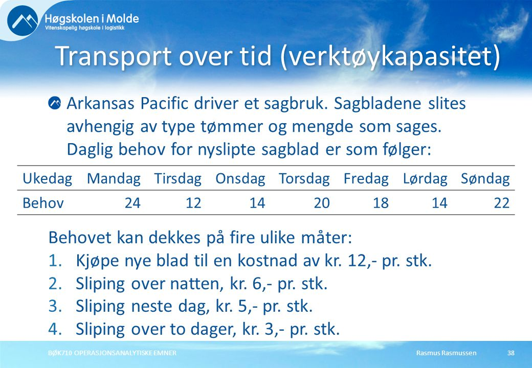 Transport over tid (verktøykapasitet)