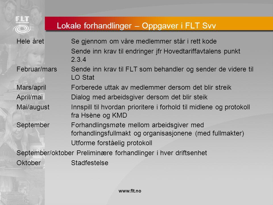 Lokale forhandlinger – Oppgaver i FLT Svv