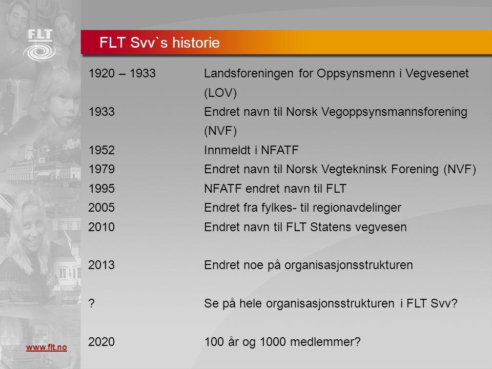 FLT Svv`s historie 1920 – 1933 Landsforeningen for Oppsynsmenn i Vegvesenet (LOV) 1933 Endret navn til Norsk Vegoppsynsmannsforening (NVF)