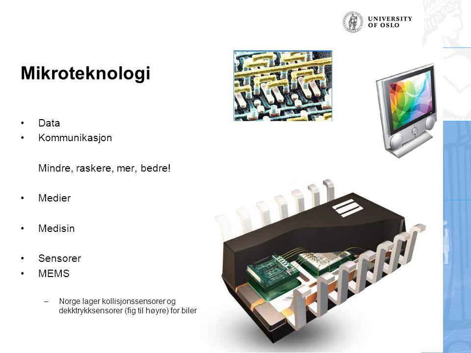 Mikroteknologi Data Kommunikasjon Mindre, raskere, mer, bedre! Medier