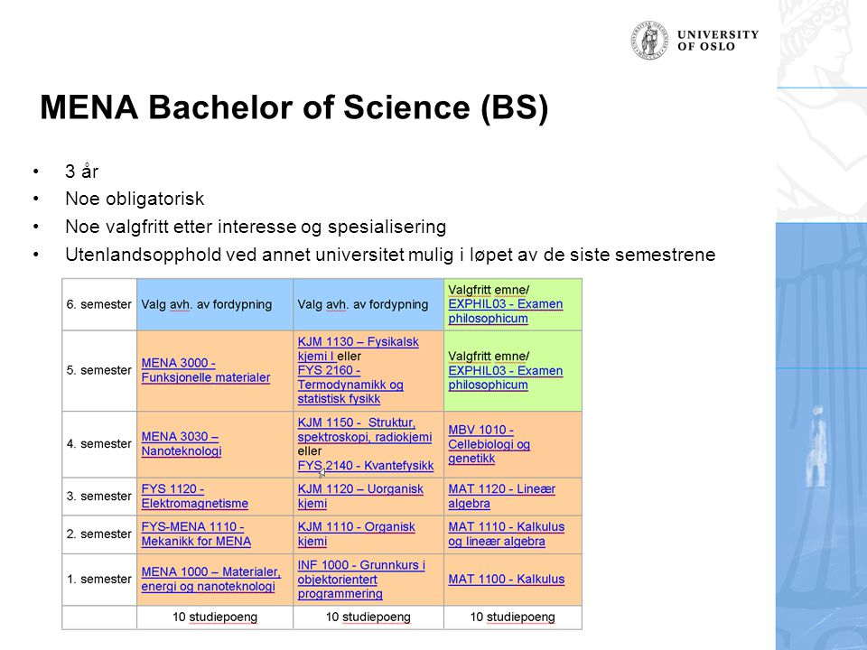 MENA Bachelor of Science (BS)