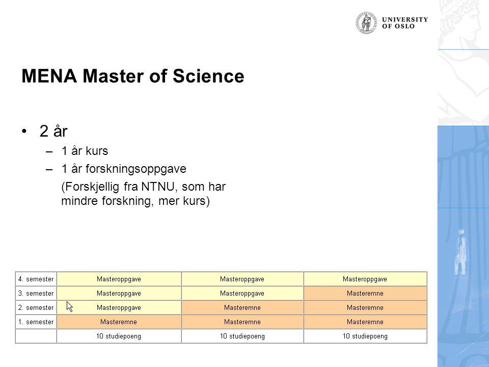 MENA Master of Science 2 år 1 år kurs 1 år forskningsoppgave