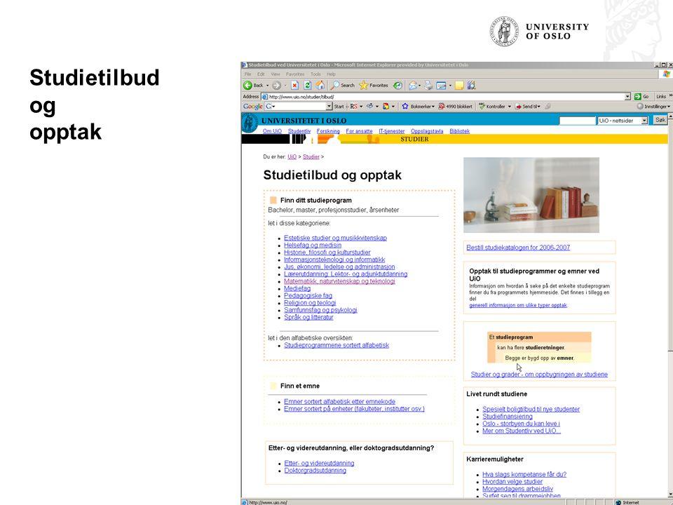 Studietilbud og opptak