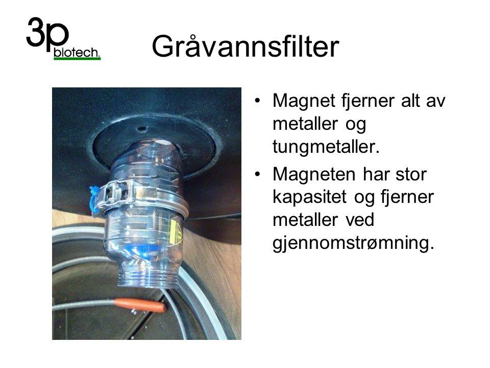 Gråvannsfilter Magnet fjerner alt av metaller og tungmetaller.
