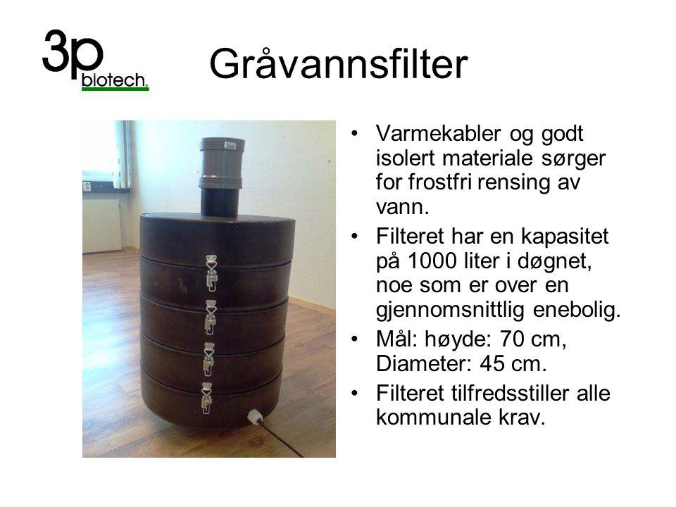 Gråvannsfilter Varmekabler og godt isolert materiale sørger for frostfri rensing av vann.