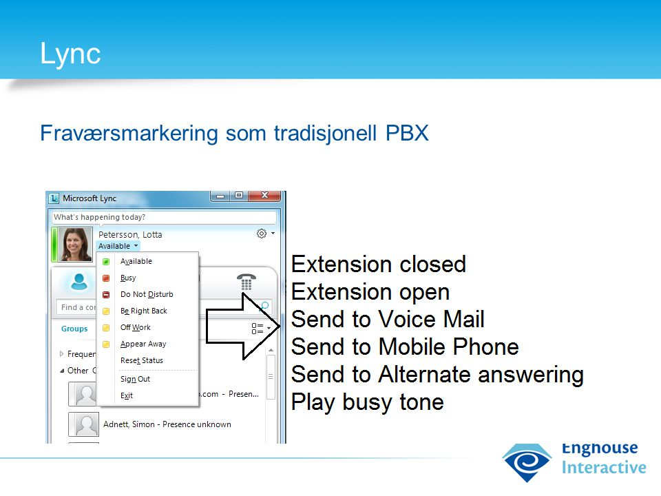 Lync Fraværsmarkering som tradisjonell PBX Possible not ready to GA