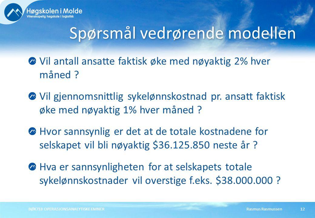 Spørsmål vedrørende modellen