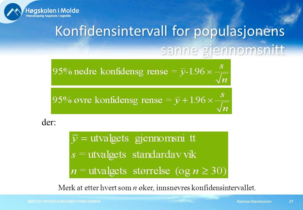 Konfidensintervall for populasjonens sanne gjennomsnitt