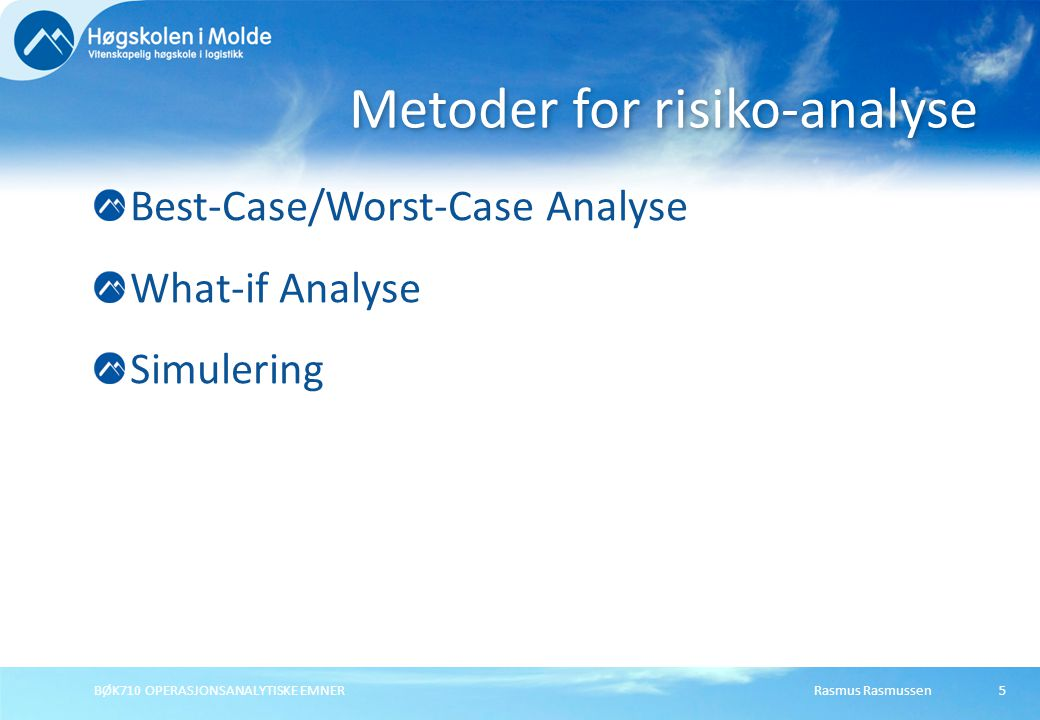 Metoder for risiko-analyse